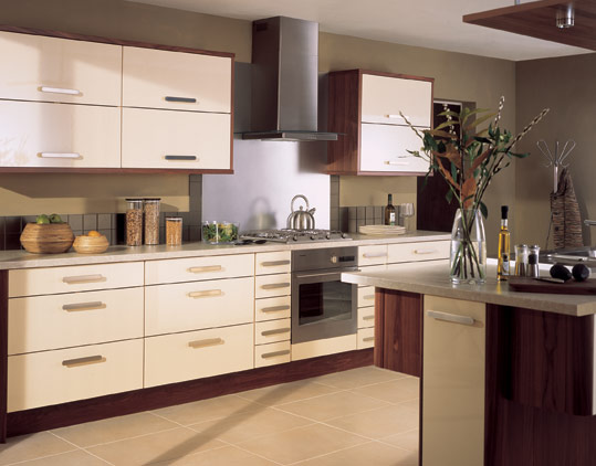 Amalfi Cream Contemporary kitchen has a highly reflective gloss cream